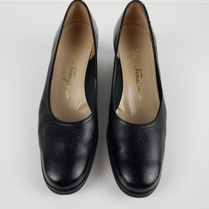 Salvatore Ferragamo black wedge shoes sz 7